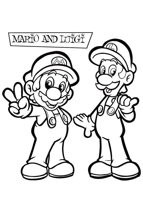kleurplaat mario en luigi super mario coloring pages
