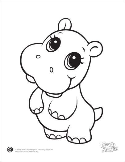 leapfrog printable ba animal coloring pages hippo
