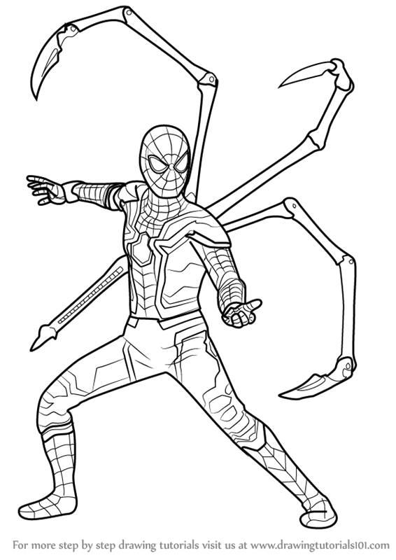 learn how to draw iron spider from avengers infinity war