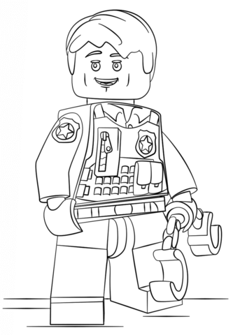 lego undercover police officer coloring page free