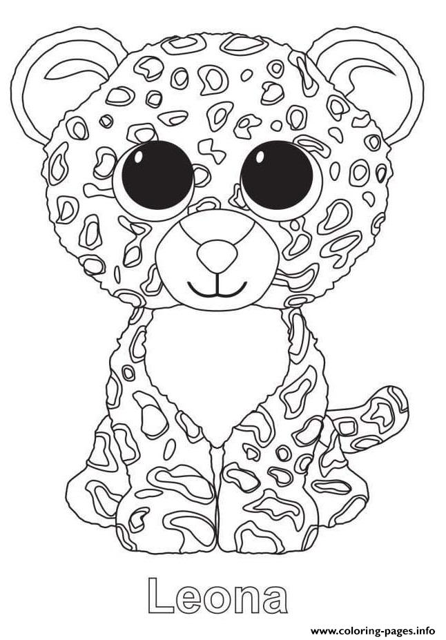 leona the leopard ty beanie boo coloring pages printable