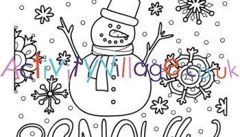 Winter snow globe with a penguin coloring page - Print. Color. Fun! | 200x350