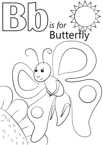 letter b is for butterfly coloring page free printable
