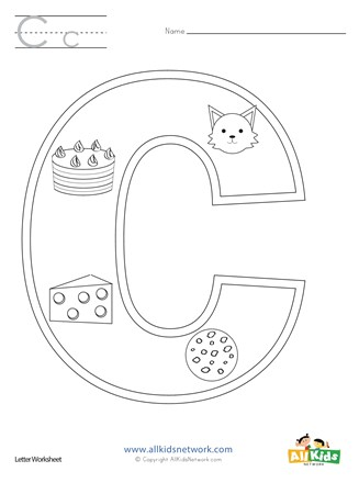 letter c coloring page all kids network