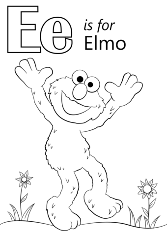 letter e is for elmo coloring page free printable coloring