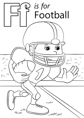 letter f is for football coloring page free printable