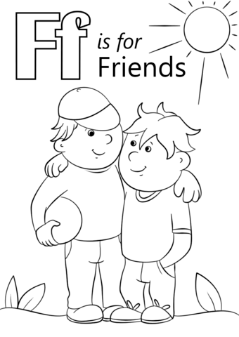 letter f is for friends coloring page free printable
