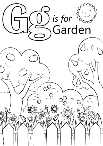 letter g is for garden coloring page free printable