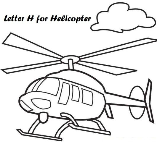 letter h for helicopter coloring pages airplane coloring