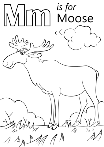 letter m is for moose coloring page free printable