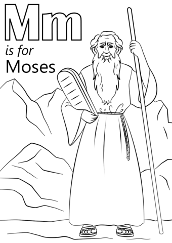 letter m is for moses coloring page free printable