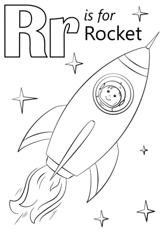 letter r is for rocket coloring page free printable