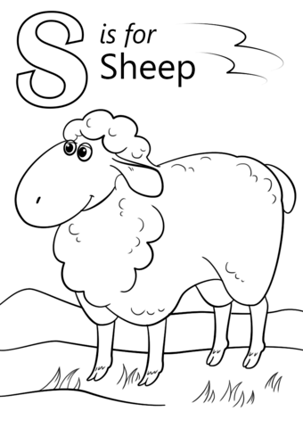 letter s is for sheep coloring page free printable