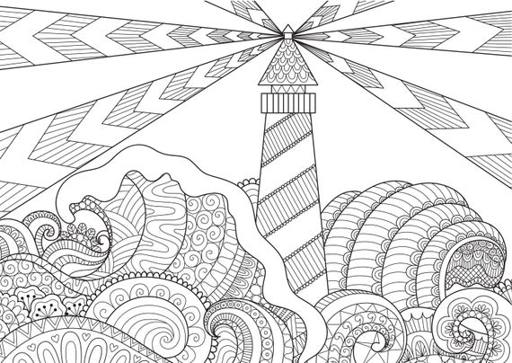 lighthouse coloring pages for adults 2 printable coloring pages instant download pdf