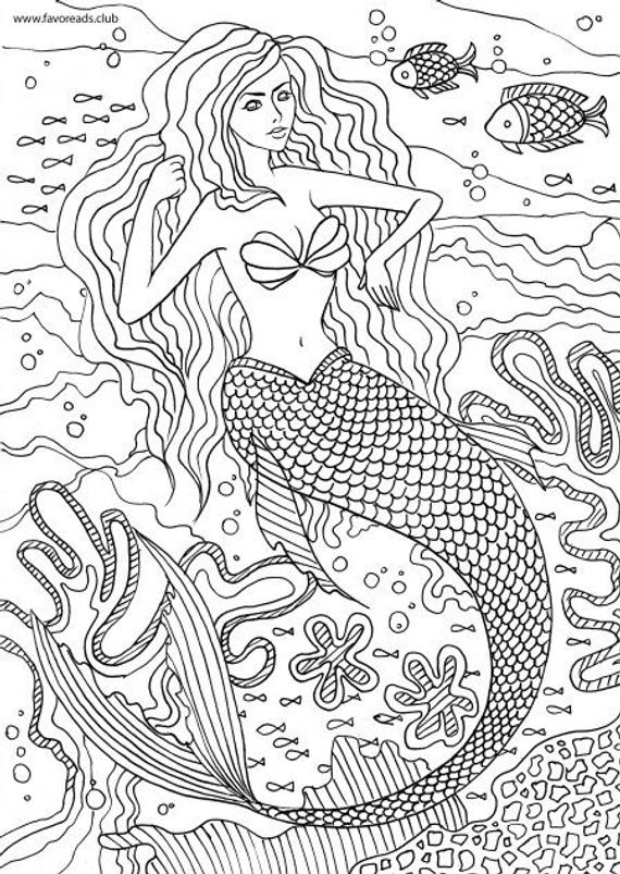 little mermaid printable adult coloring page from favoreads coloring book pages for adults and kids coloring sheets coloring designs