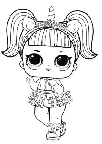 lol surprise doll unicorn coloring page free printable
