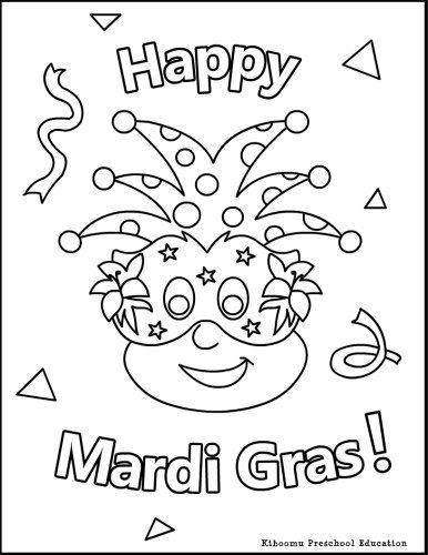 mardi gras coloring page for kids karneval kinder und