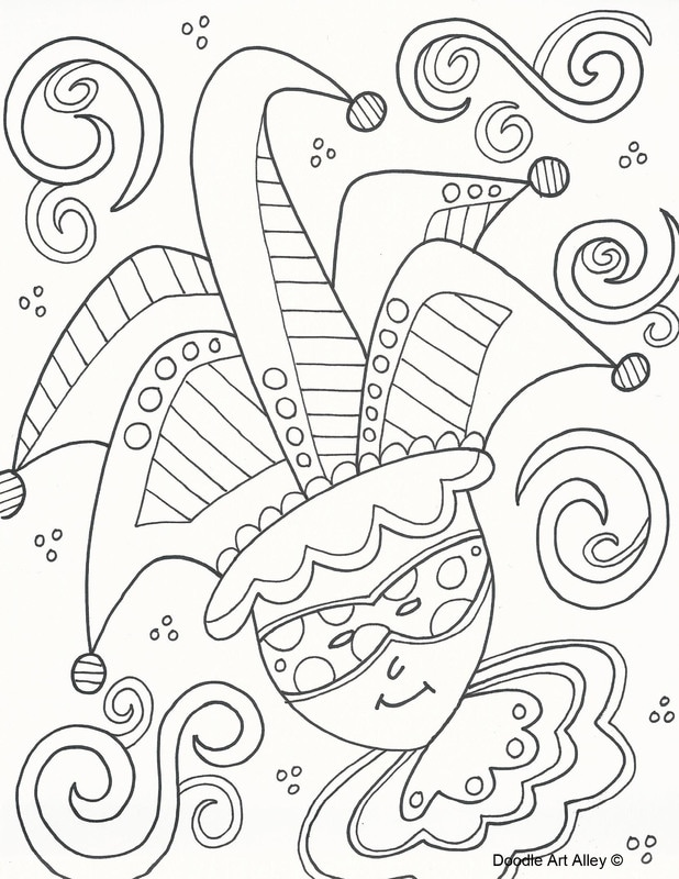 mardi gras coloring pages doodle art alley