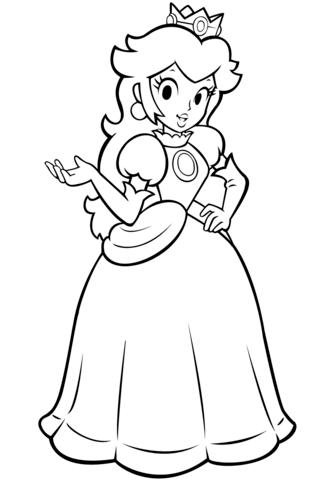 mario bros princess peach coloring page free printable