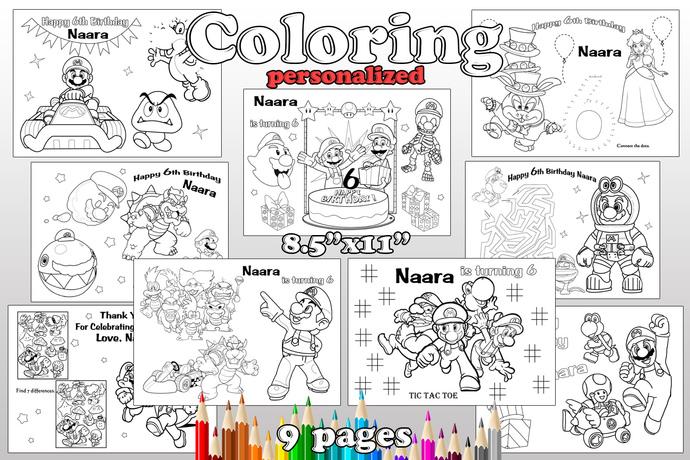 mario odyssey birthday party favor mario odyssey coloring pages mario odyssey birthday party personalized pdf
