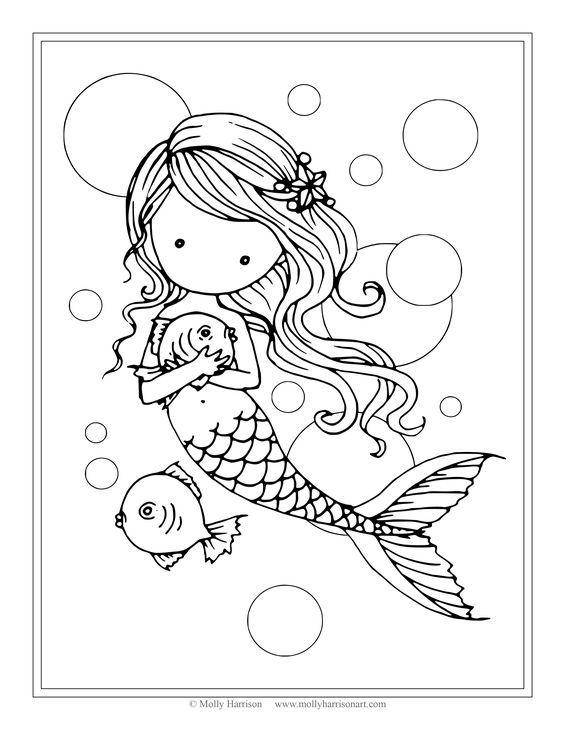 mermaid and her fish kostenlose ausmalbilder kunst mit
