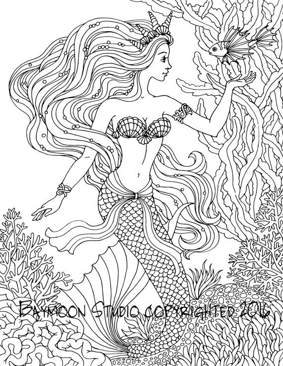 mermaid coloring pages for adults at getdrawings free