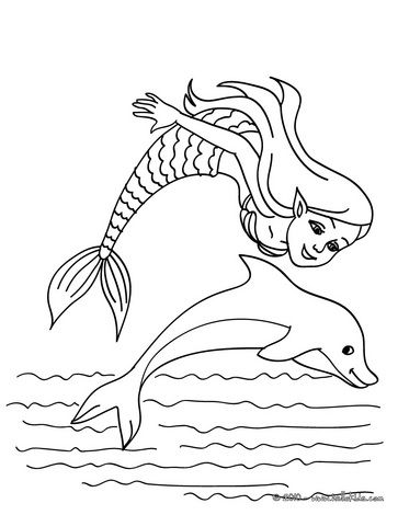 mermaid with a dolphin coloring page kindergeburtstag