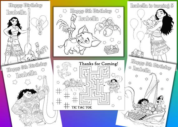 moana coloring pages moana birthday party favor pdf file