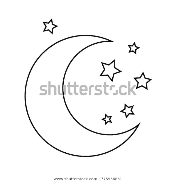 moon stars drawing coloring pages kids stock vektorgrafik