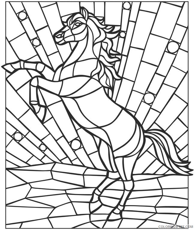mosaic coloring pages horse coloring4free coloring4free