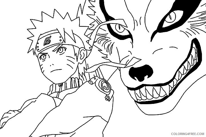 naruto coloring pages nine tailed fox kyuubi coloring4free