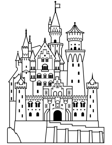 neuschwanstein castle coloring page free printable