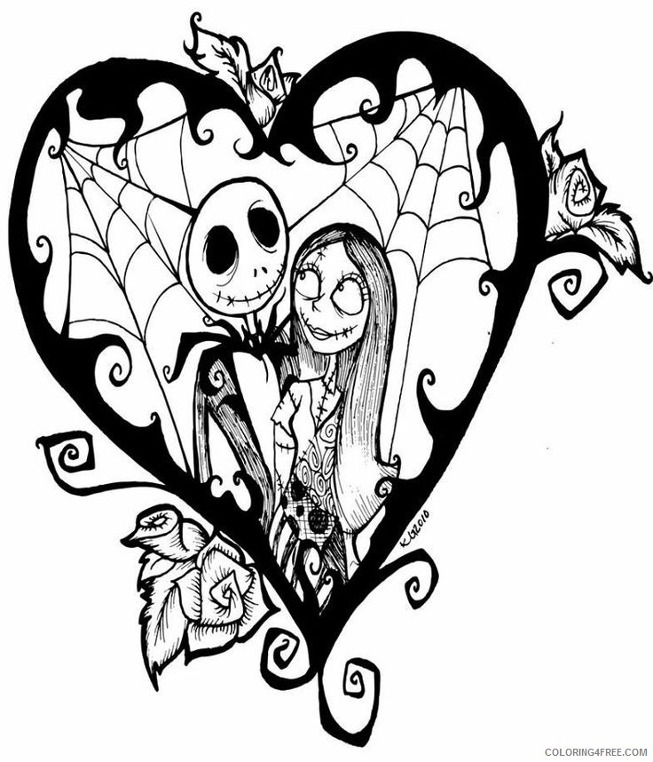 nightmare before christmas coloring pages jack and sally in