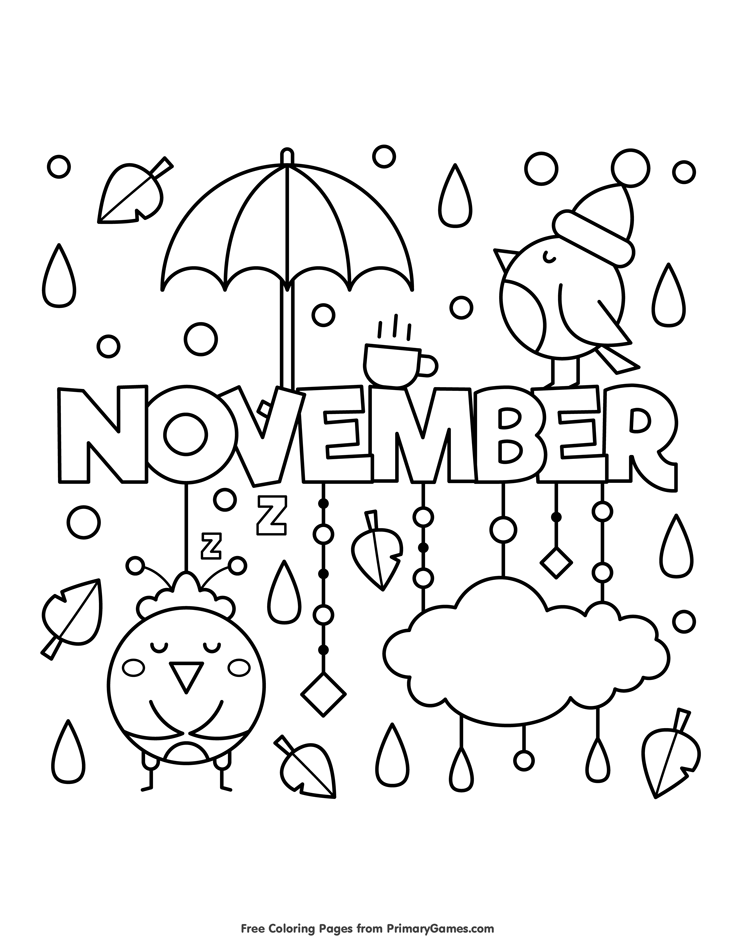 november coloring page free printable ebook herbst