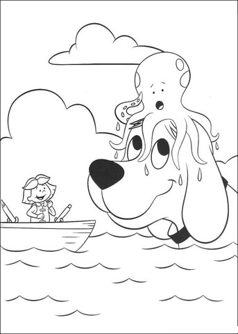 octopus is on the head of clifford coloring page free