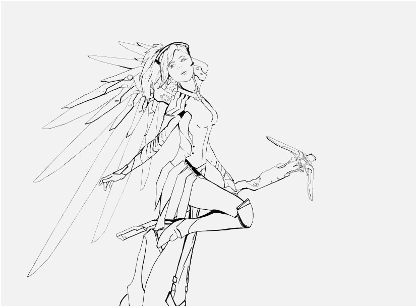 overwatch coloring pages pics mercy drawing at getdrawings