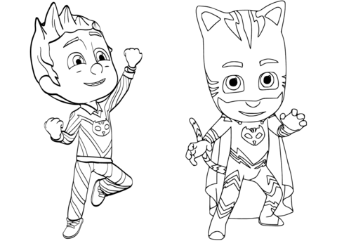 pajama hero connor is catboy from pj masks coloring page