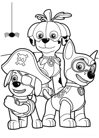 paw patrol halloween party coloring page free printable
