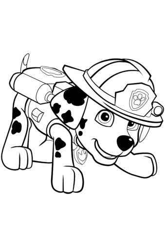 paw patrol marshall puppy coloring page free printable