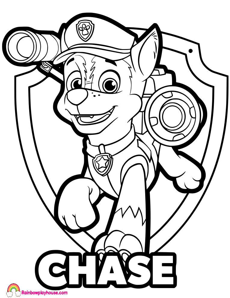 paw patrol printable coloring pages chase