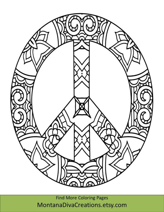 peace sign coloring sheet pretty pattern printable coloring page instant download coloring therapy themed mindfulness page