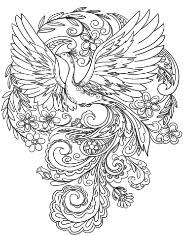 peacock in flowers coloring page free printable coloring pages
