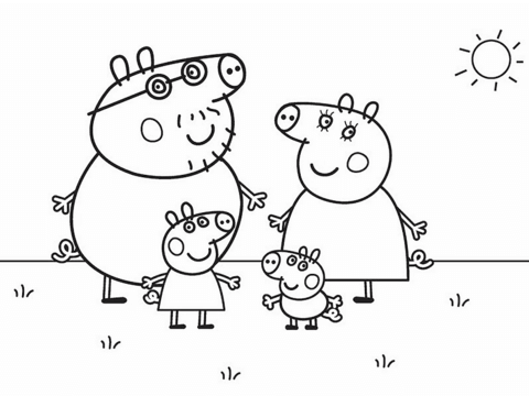 peppa pigs family coloring page free printable coloring pages