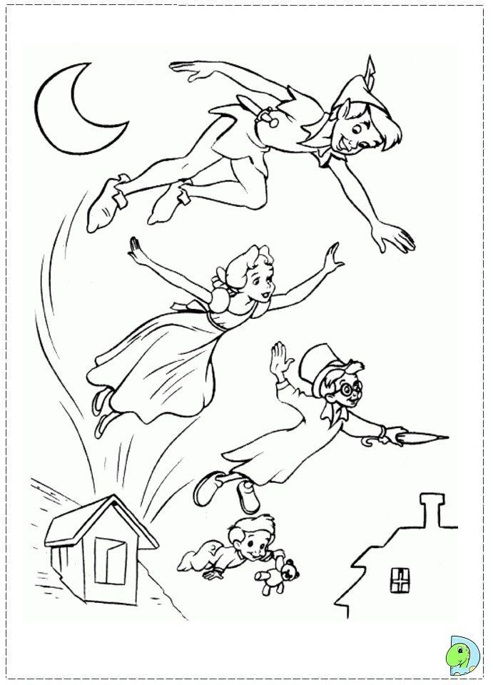 peter pan coloring page dinokids peter pan