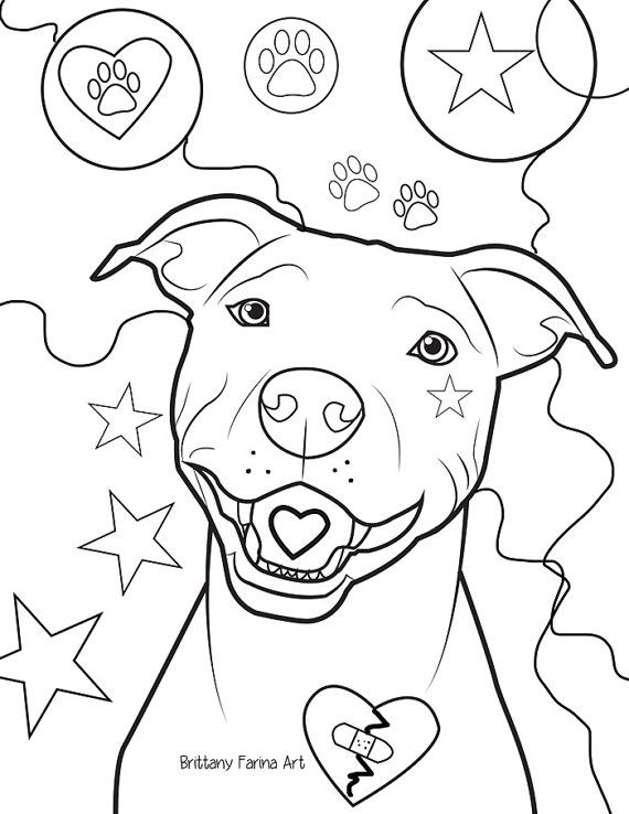 pitbull coloring page coloring page brittanyfarinaart on