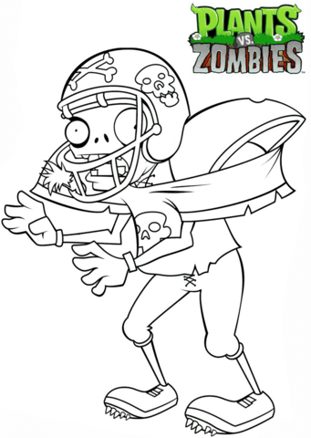 plants vs zombies football zombie coloring page free
