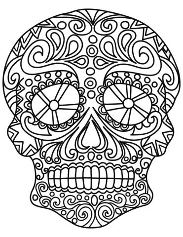 pop art sugar skull coloring page free printable coloring