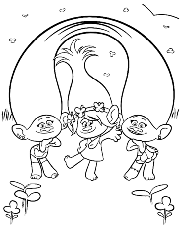 poppy with satin chenille from trolls coloring page free