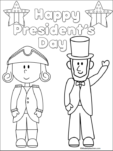 presidents day coloring page madeteachers