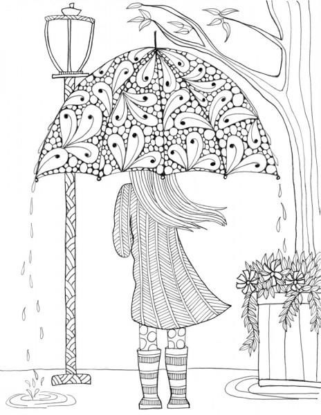 prettiest umbrella girl coloring page kostenlose